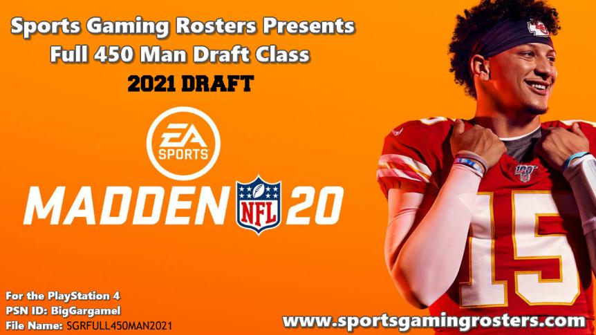 Madden NFL 20 Full 450 Man 2021 Draft Class –PS4